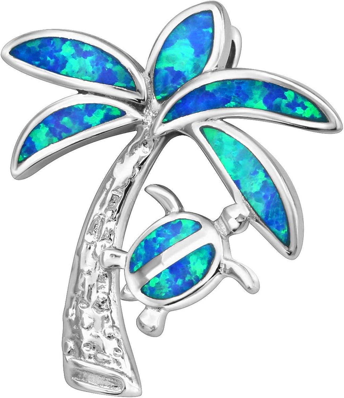 Tata Gisele - Colgante de plata rodiada 925/1000 y ópalo azul – Cocotero y tortuga – Decoración ópalo azul brillante – 25 mm