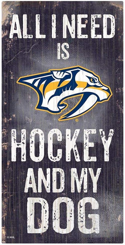 Fan Creations NHL Nashville Predators Unisex Nashville Predators Hockey and My Dog Sign, Team Color, 6 x 12