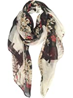GERINLY Womens Scarves: Ferris Wheel Print Soft Voile Wrap Scarf