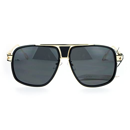 5ab8ac202d5 SA106 Luxury Mens Mobster Pilot Racer Designer Fashion Sunglasses Gold Black