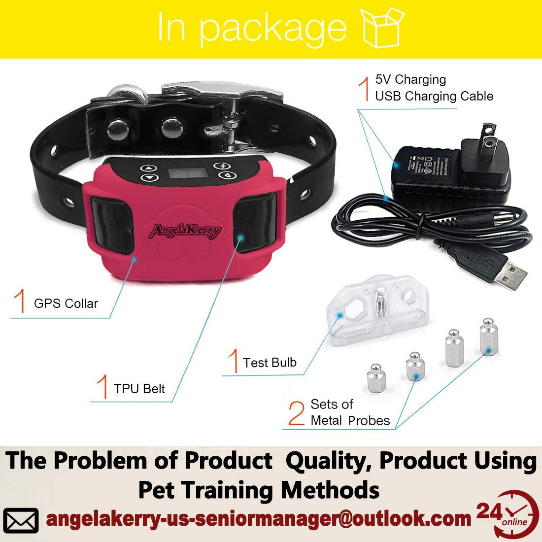 AngelaKerry Wireless Dog Fence System with GPS, Outdoor Pet Containment System Rechargeable Waterproof Collar 850YD Remote for 15lbs-120lbs Dogs Rose Red, 1pc GPS Receiver by 1 Dog