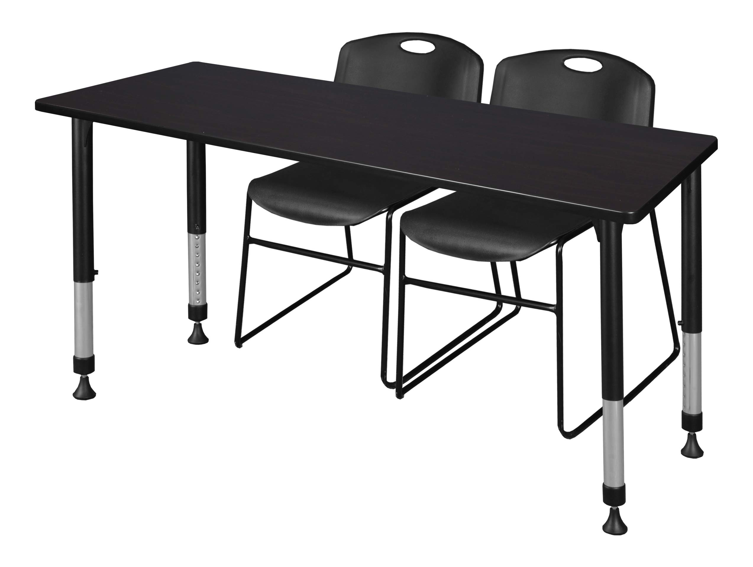Regency MT6624MWAPBK44BK Kee Height Adjustable Classroom Table Set with Two Zeng Chairs, 66'' x 24'', Mocha Walnut/Black