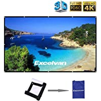 Excelvan 100 inch Projection Screen 16:9 HD Foldable Anti-Crease Portable Projector Movies Screen for Home Theater Outdoor Indoor Support Double Sided Projection, 2 lbs Only