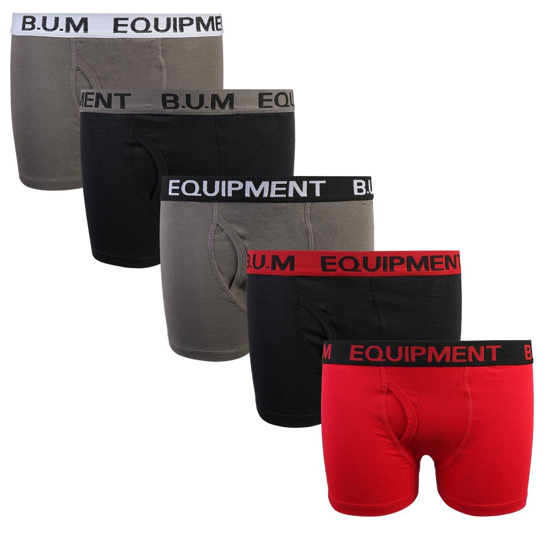 B.U.M. Equipment Boys 5 Pack Solid Boxer Briefs Underwear, Basics #2, Large/12-14'