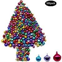 Dylan-EU 500 Piezas Mini campanas metálicas Cascabeles multicolor