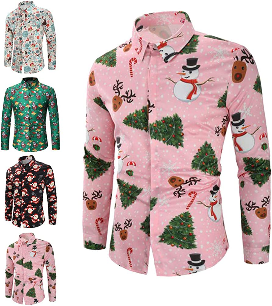 GRMO Men Christmas Floral Print Long Sleeve Elk Lapel Button Down Shirt Tops