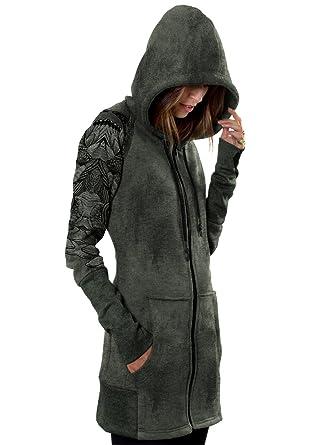 Vestido con capucha y cremallera caqui, sudadera larga urbana Feather con dibujo de plumas para mujer - Talla L: Amazon.es: Ropa y accesorios