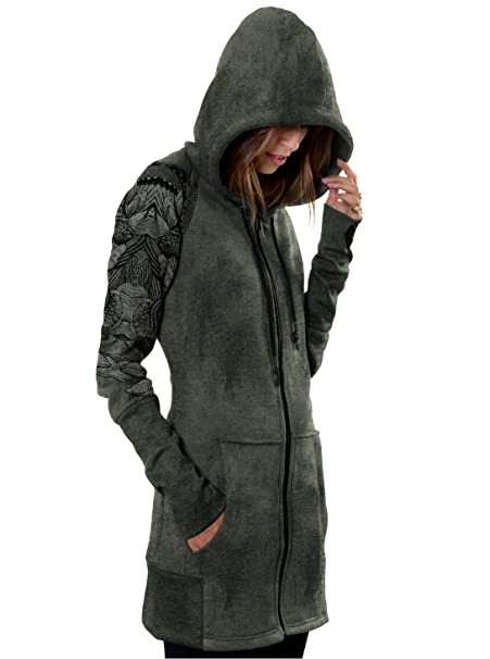 Womens Hoodie Dress Feather Wings Zip Up Camo Green Drawstring Hood Pullover M, Olive at Amazon Womens Clothing store:
