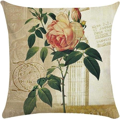 Imagen deCaogsh - 2 fundas de almohada de felpa corta para cojín lumbar, sofá, almohada, almohada retro con diseño de pájaros y flores, algodón mixto, Zt002754, 50x50cm(Single side printing)