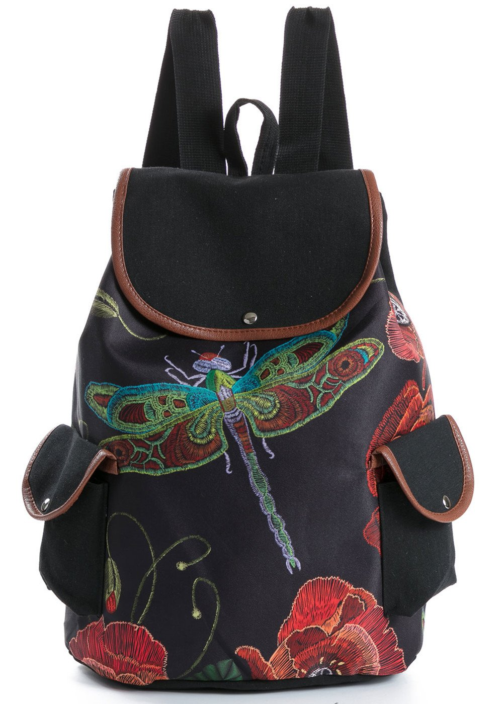 744c2b41c8d3 KIDVOVOU Canvas Backpack for Young Girls Women Backpack Flower Print  Rucksack