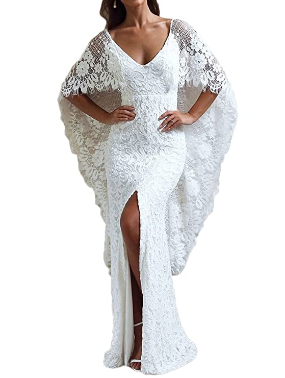 alilith.Z Sexy V Neck Side Slit Beach Bridal Gowns White Lace Long Mermaid Wedding Dresses For Bride 2018 at Amazon Womens Clothing store: