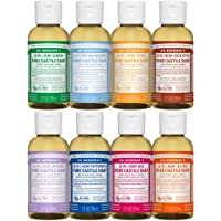 Dr. Bronner?s 2 Ounce Sampler- 8 Piece Gift Set. 8, 2 Ounce Castile Liquid Soaps in Almond, Unscented, Citrus, Eucalyptus, Tea Tree, Lavender, Rose, and Peppermint