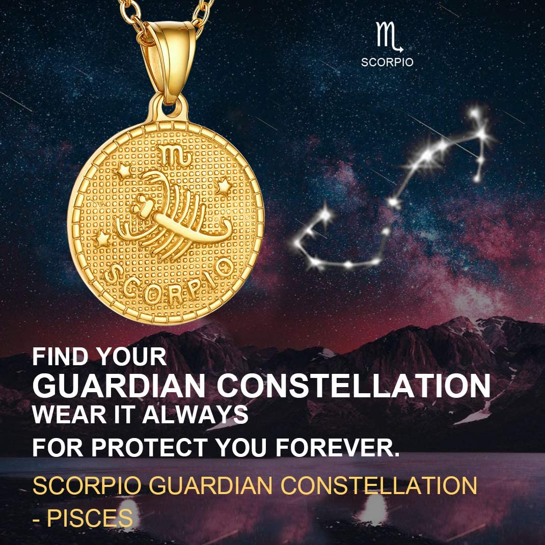 Gold Medallion Zodiac Necklace-Offer Custom Engrave Service Coin Necklace GoldChic Jewelry Personalized Zodiac Coin Necklace Horoscope Necklace Astrology Necklace