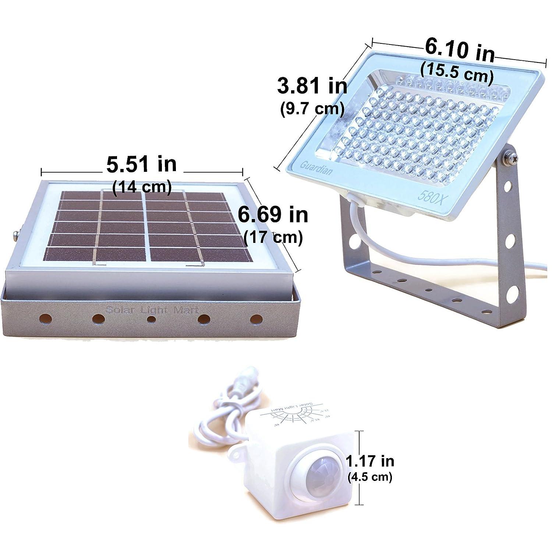 3 Modos de Iluminaci/ón Reflector Solar GUARDIAN 580X de Vigilancia con Sensor Autom/ático de Movimiento PIR y Bater/ía de Litio 730 L/úmenes a M/áxima Luminosidad