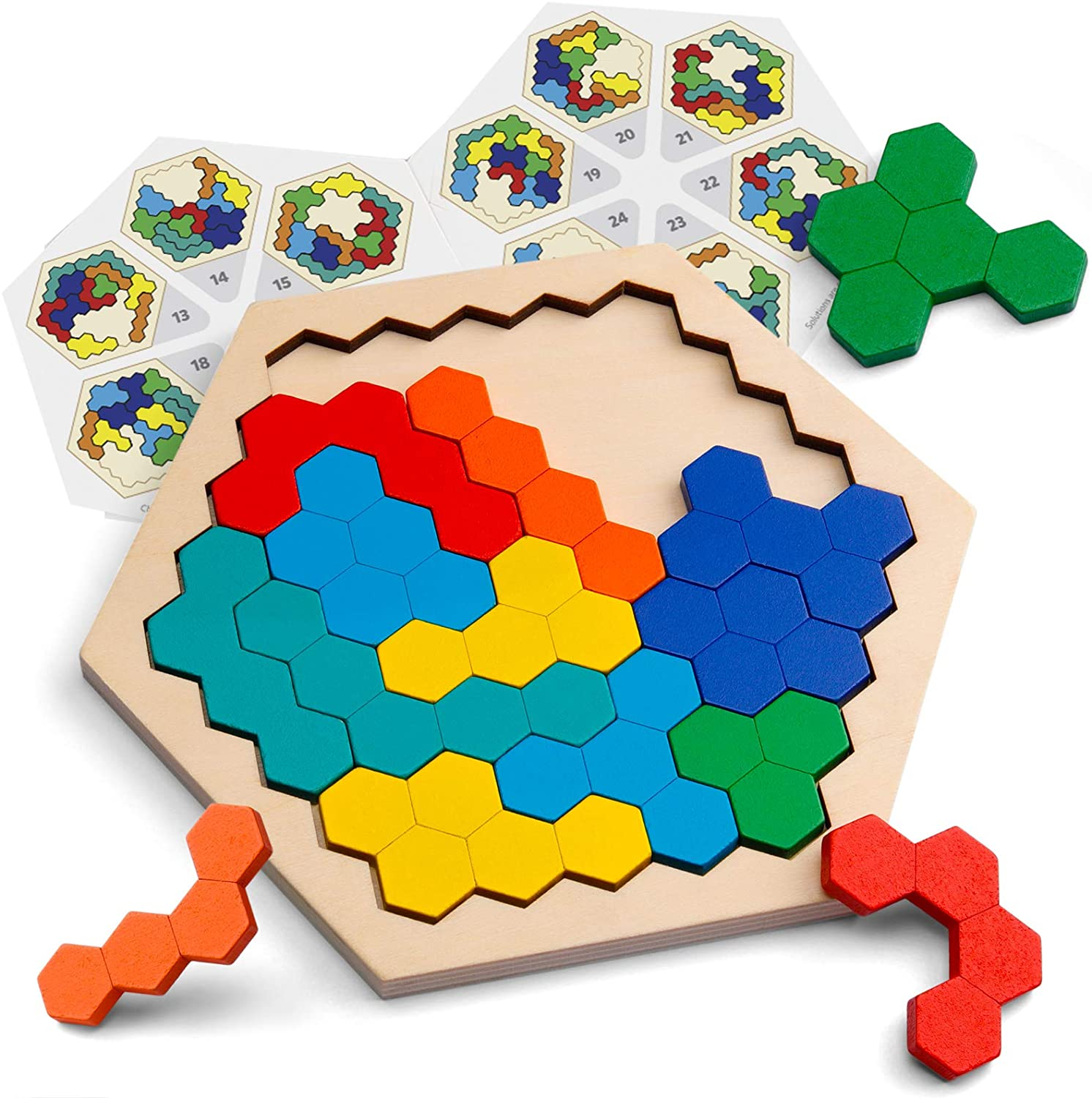 3D Chinese Wooden Puzzle Game Chexagon Model Brain Teaser Jigsaw Building Blocks