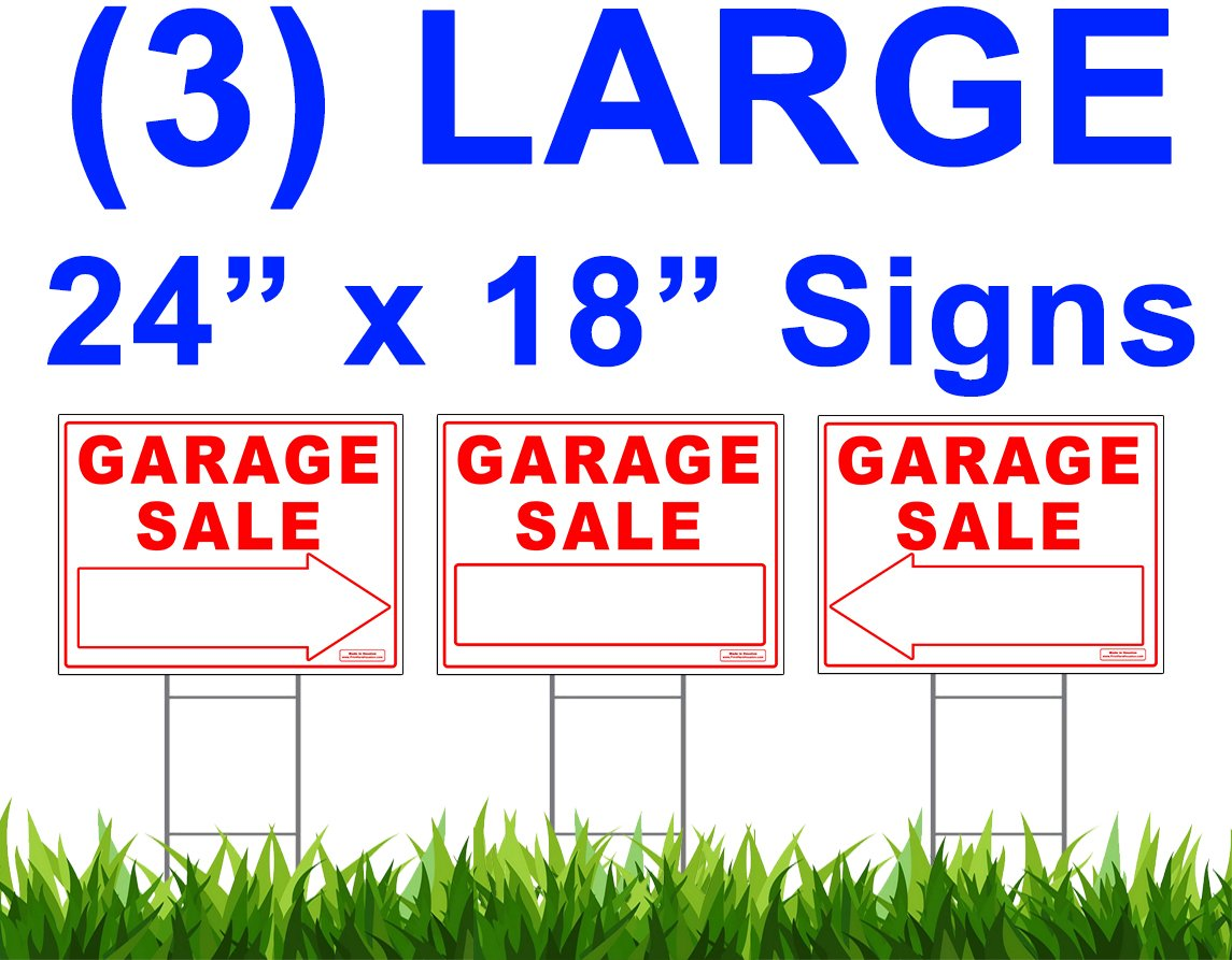Large GARAGE SALE Sign Kit with Tall Stands - Printed Double (both) Side - Include (1x) 24'' x 18'' Yard Sign with (2x) Directional LEFT or RIGHT Arrow + (3x) 24'' Tall Wire Stakes