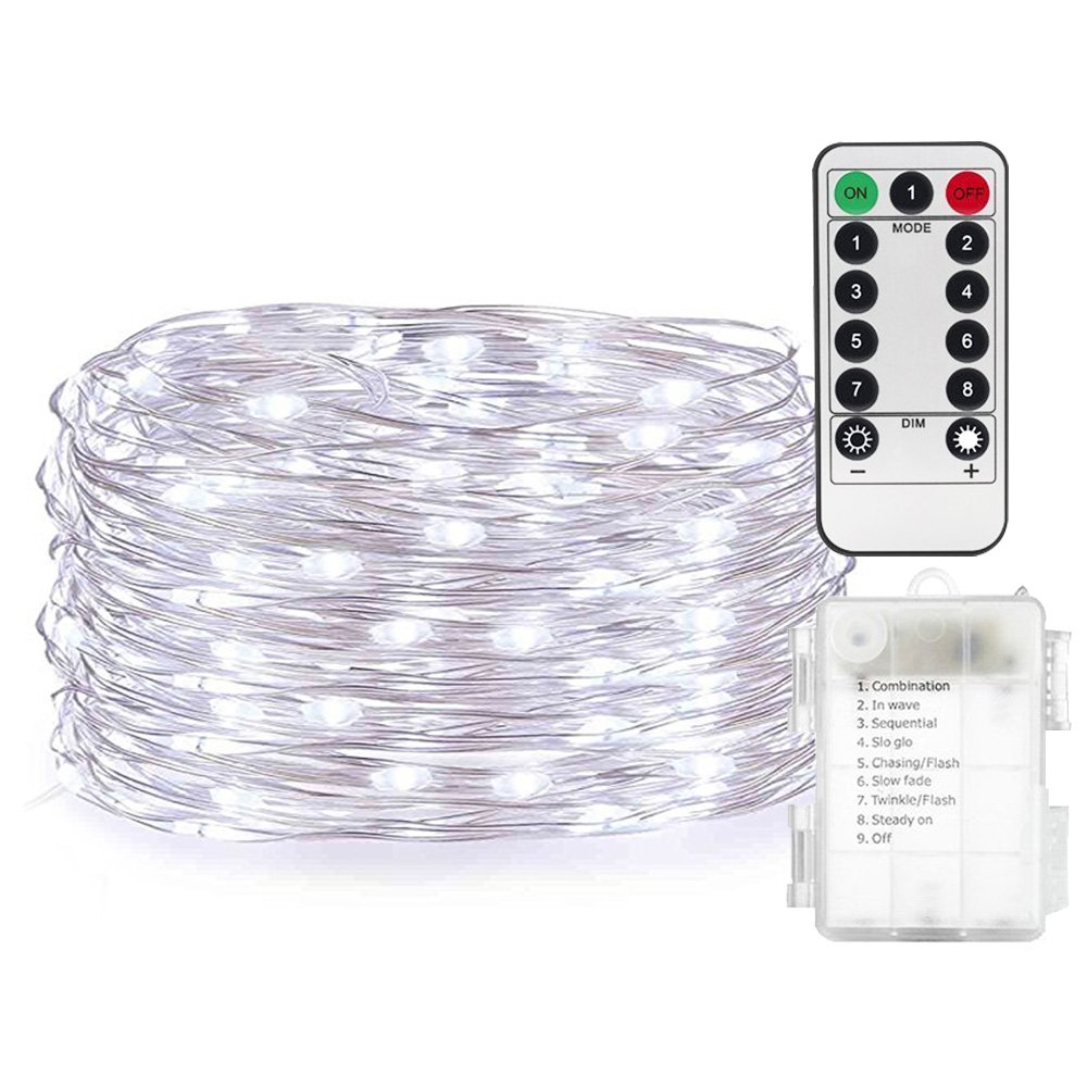 AndThere LED String Lights Battery Powered Multi Color Changing String Lights With Remote 50 LED Indoor Decorative Wire Lights for Bedroom ,Patio,Outdoor Garden,Christmas Tree,Indoor 16ft/5m(Multicolor)