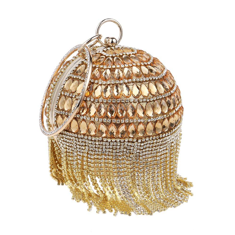 Zhoyea Durable Ladies Banquet Handbag,Luxury Rhinestone Spherical Clutch Bag Elegant Tote Handbag Top Handle Bag Wedding Party for Women (Color : Gold)