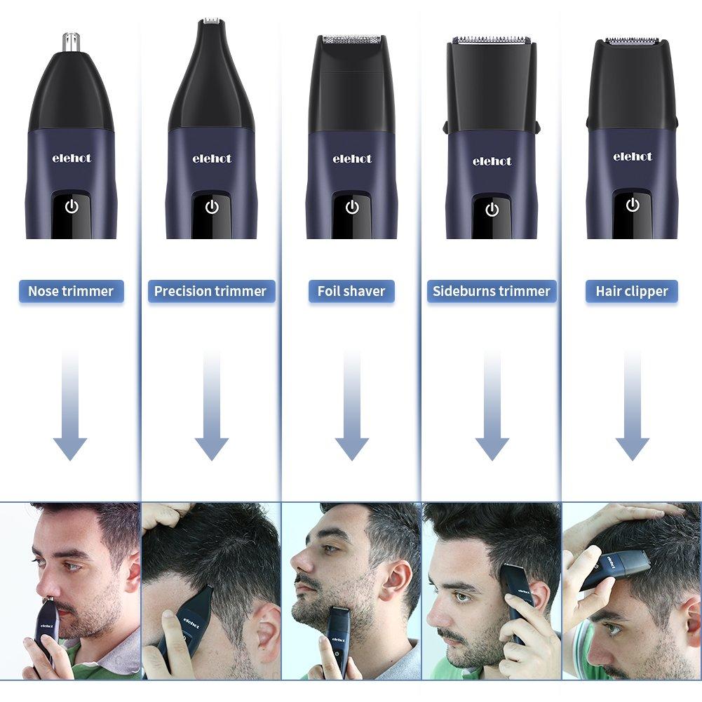 Cortapelos Nariz y Orejas Cortadora de Barba y Cabello 5 en 1 para Hombre Maquinilla de Afeitar Eléctrica Profesional Múltiusos con distintos cabezales ...
