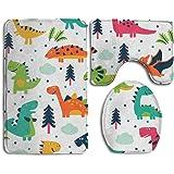 3PCS Bath Non-Slip Cartoon Dinosaur Set Flannel Lid Bath Mat, Contour & Seat Cover Absorbent Bathroom Mat Set With Lantax Backing