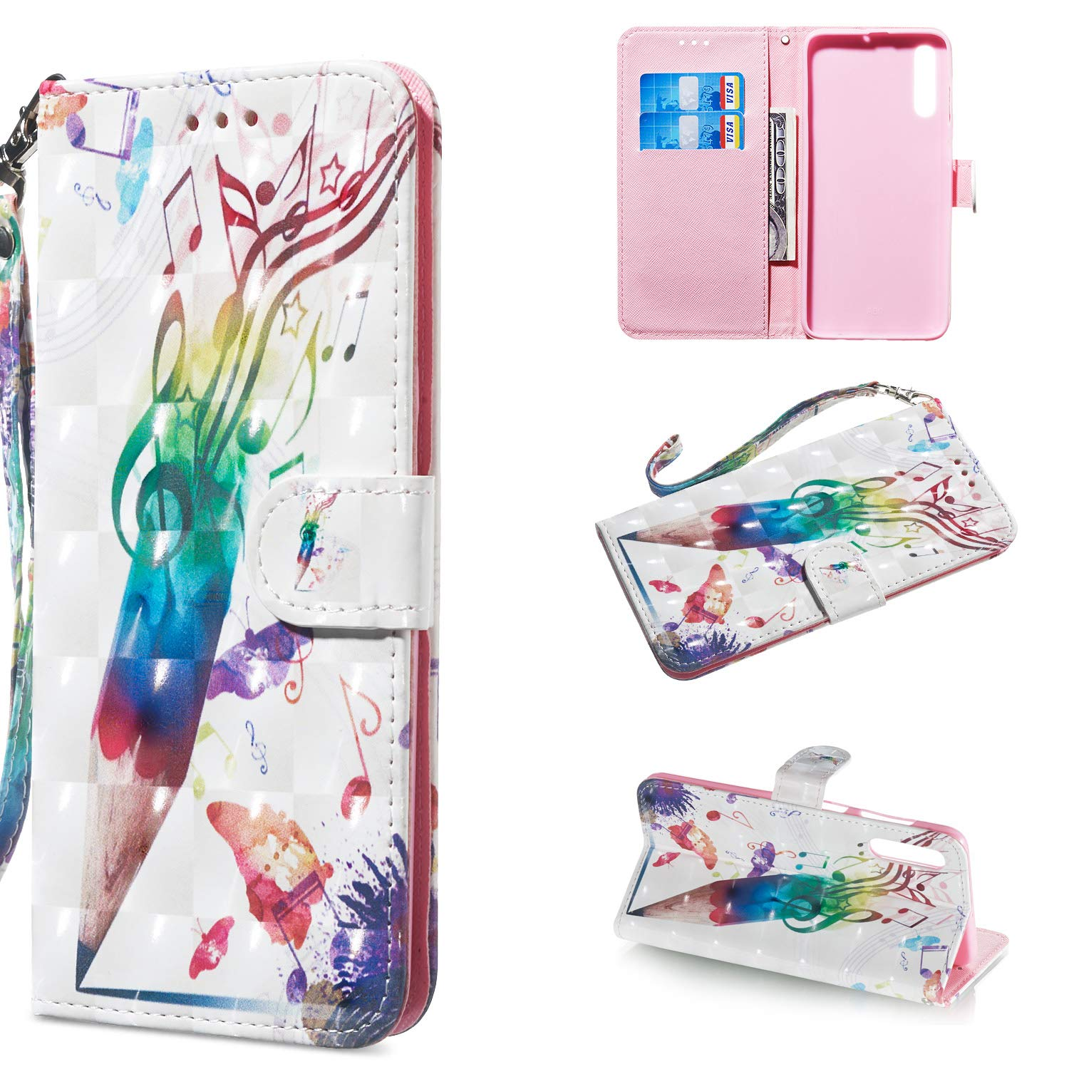Amocase Wallet Case with 2 in 1 Stylus for Samsung Galaxy A50,Luxury 3D Panda Rose Art Printed Scratch Resistant Magnetic Kickstand Full Body Soft Silicone Strap PU Leather Case