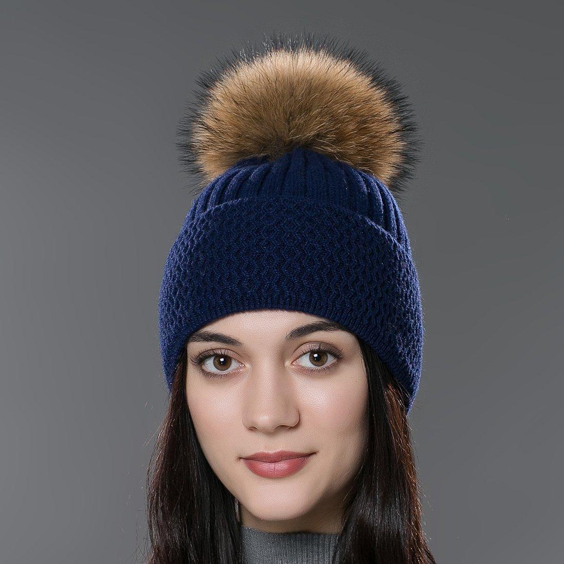 5933e0861d9ec URSFUR Autumn Knit Cap with Fur Ball Pom Pom Beanie Unisex Winter Hat  CA-YQ-MX16003-Q-2-GCID  1541792141-277448  - CA 19.13