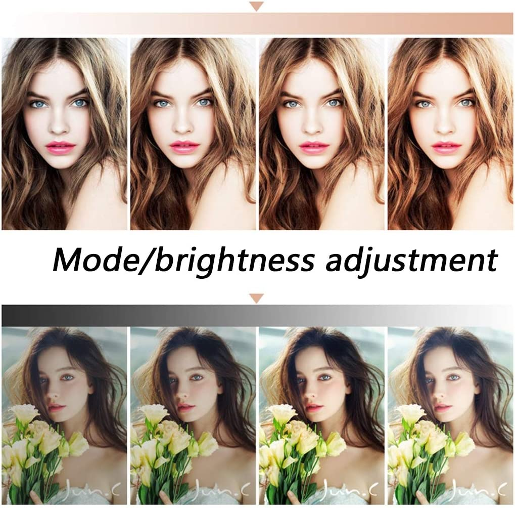 Yqqcf Ring Light with Tripod Stand Mobile Phone Holders Dimmable LED Light USB Interface for Live Streaming Video Dimmable Desk Makeup,50CM