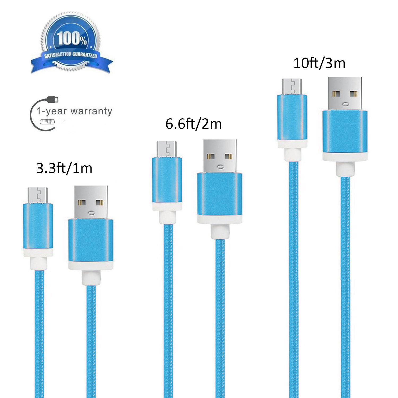 Amazon.com: Micro USB Cable [3-Pack] 3+6+10 Feet Nylon Braided Multi ...