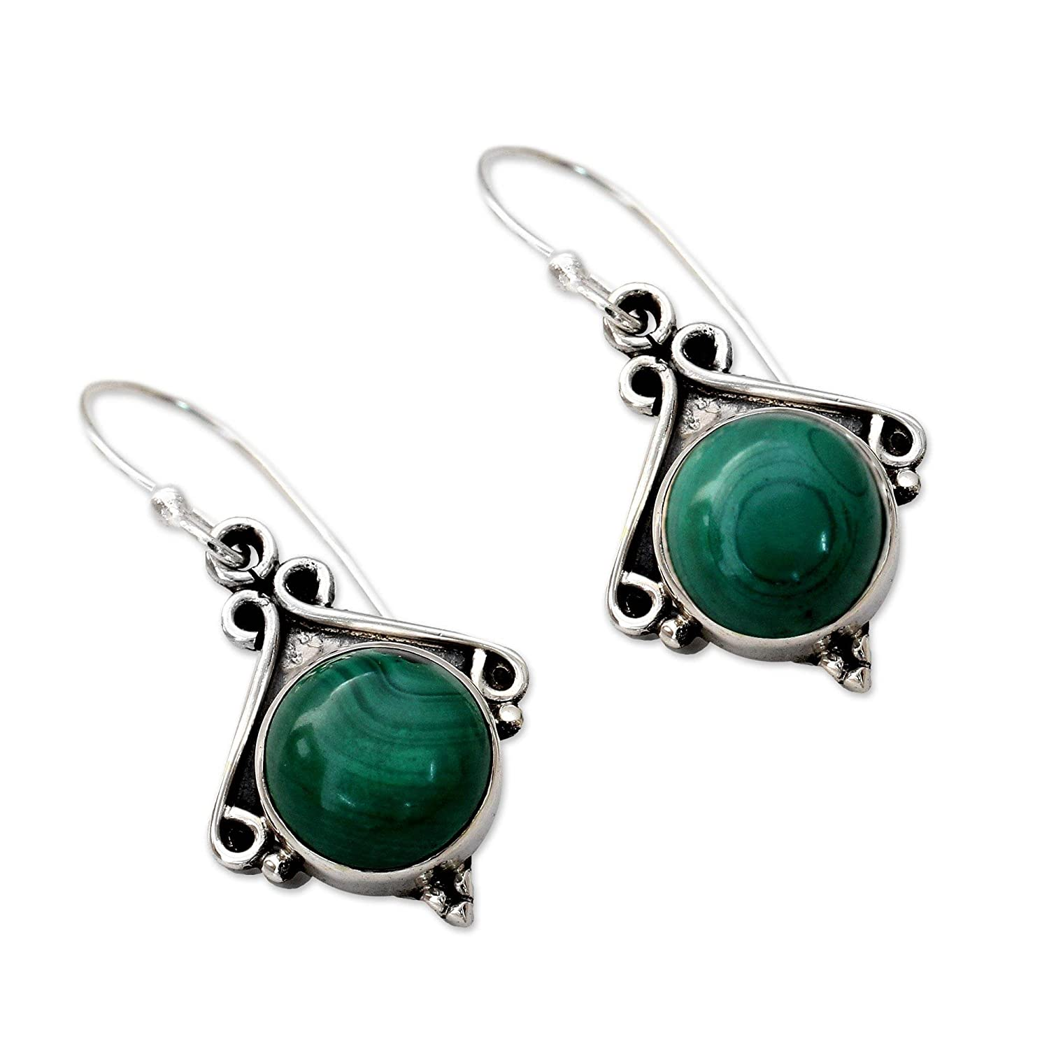 NOVICA .925 Sterling Silver Dangle Earrings with Malachite, Forest Charm