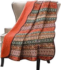 Stitching Reversible Blanket Floral Patchwork Quilted Throw Orange Jacquard …