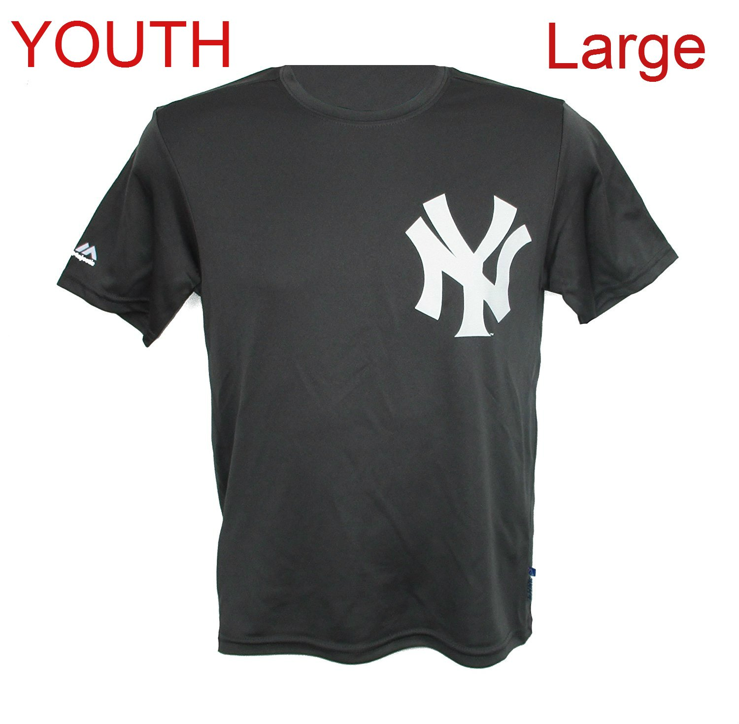 45460b2ee Amazon.com   Majestic New York Yankees Youth Large Team Logo Cool Base  Performance Shirt - Charcoal Gray   Sports   Outdoors