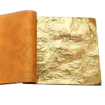 5.5 by 5.5 #2 25 Sheets booklets Art Gilding KINNO Variegated Gold Leaf Sheets Artistic Works Home Decoration
