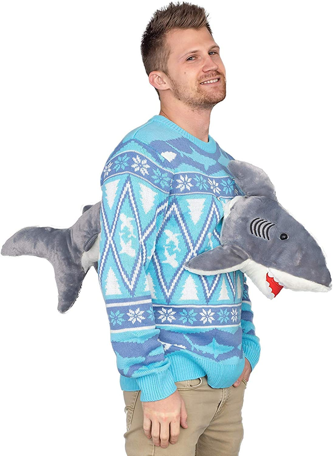3D Shark Plushie Ugly Christmas Sweater
