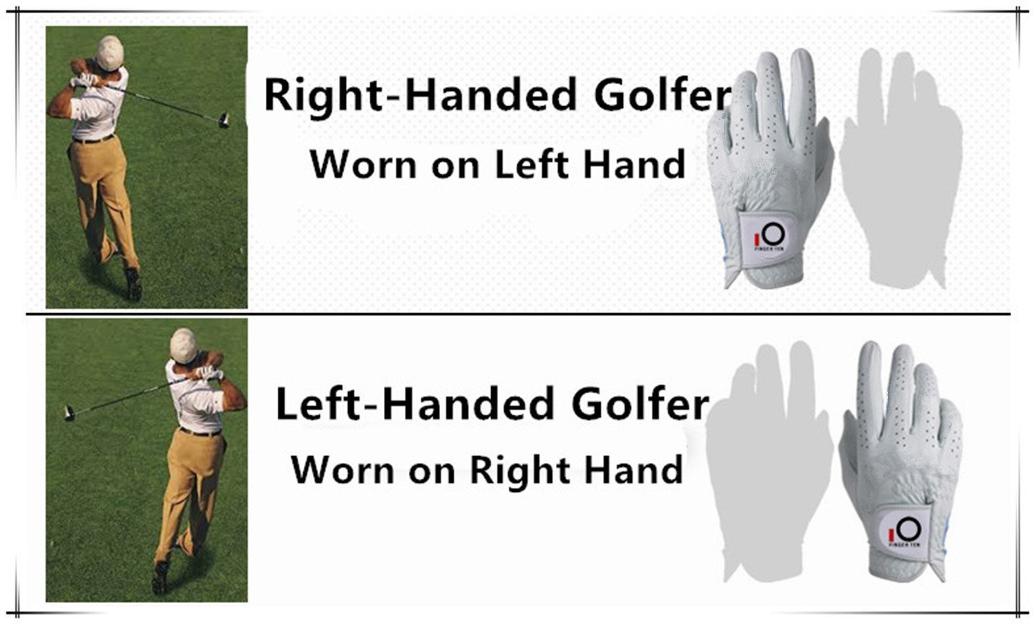 FINGER TEN Men Golf Gloves Left Hand 6 Pack, Stablegrip Soft Synthetic Leather, Right Handed Fit Small Medium Large XL (X-Large)
