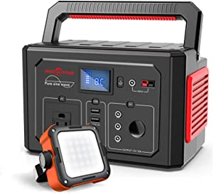 ROCKPALS 350W Portable Power Station 1000LM LED Camping Lantern Rechargeable, Great Solar Generator for Backup Power, Outdoor Adventure and Camping