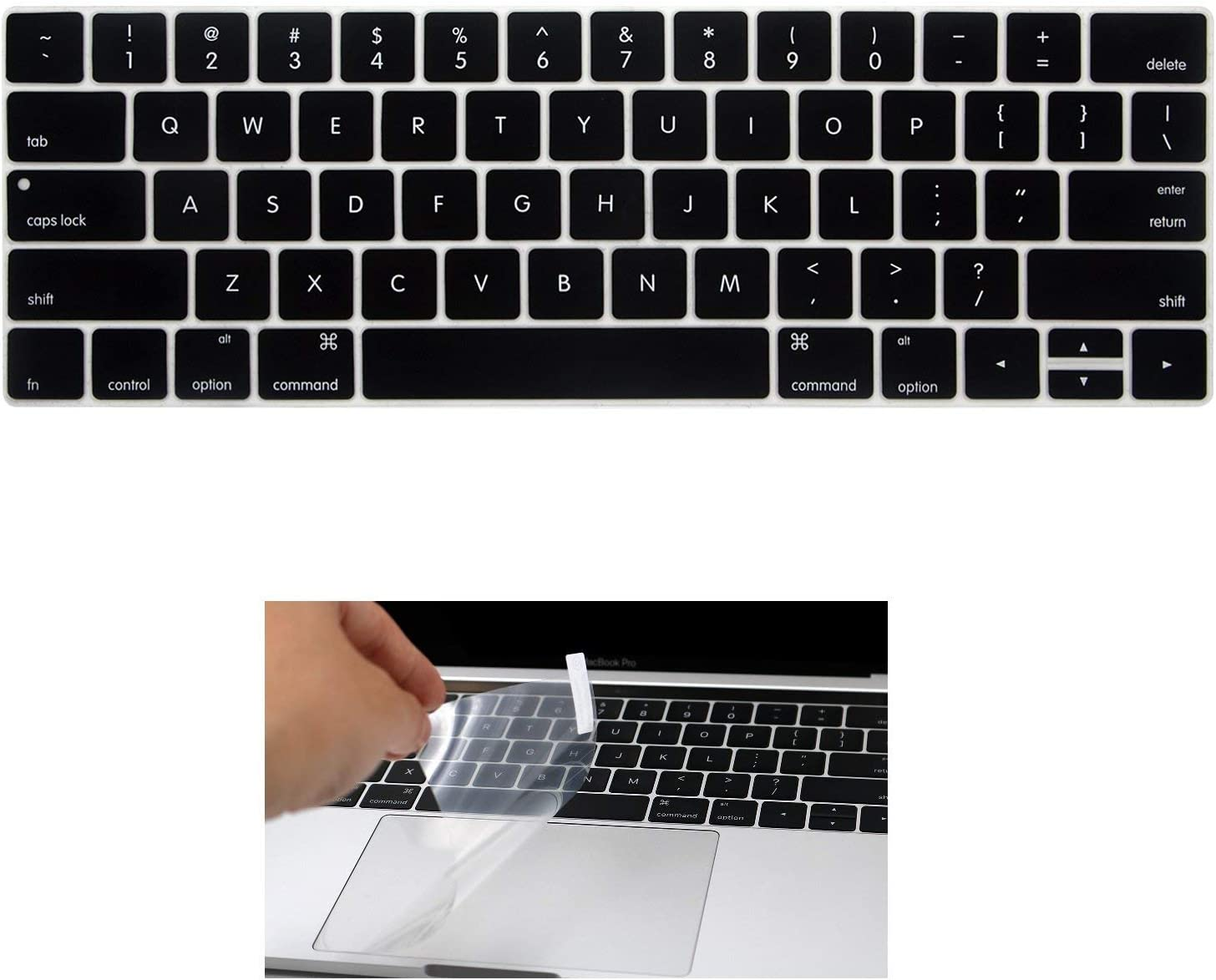 """Applefuns Laptop MacBook a1706 Silicone Keyboard Cover Skin and Touchpad Protector for MacBook New Pro 13"""" with Touch Bar(2016.10 Release,Model A1706)- Black"""