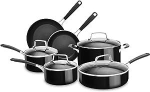 KitchenAid KC2AS10OB 10 Piece Aluminum Nonstick Set, Onyx Black, Large