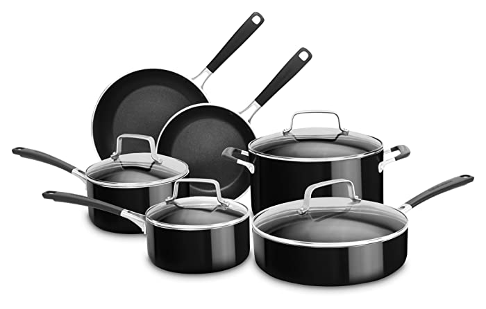 KitchenAid KC2AS10OB 10 Piece Aluminum Nonstick Set, Onyx Black, Large