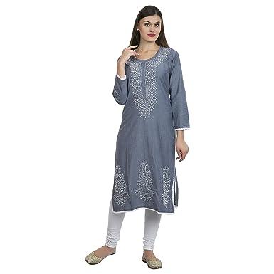 La Vastraas Cotton Fabric Chikan Work Lucknowi Kurta