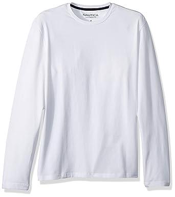b112e8536c70 Nautica Men's Long Sleeve Solid Crewneck T-Shirt, Bright White, Large