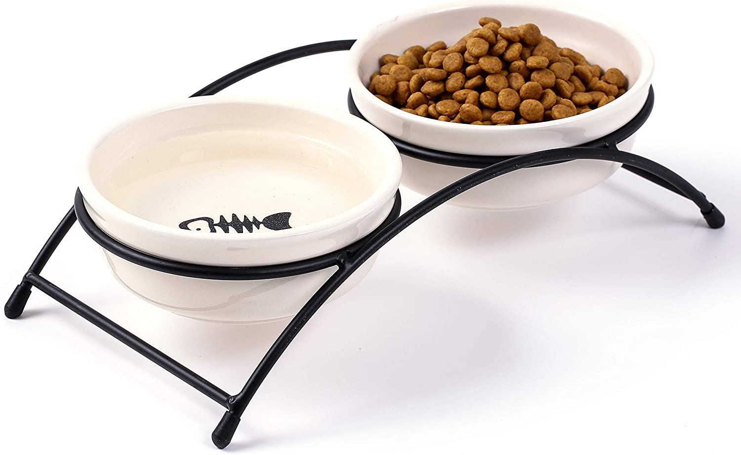 JanYoo Ceramic Cat Bowls Food Feeding Stand Elevated Dog Bowl Outdoor Non-Skid