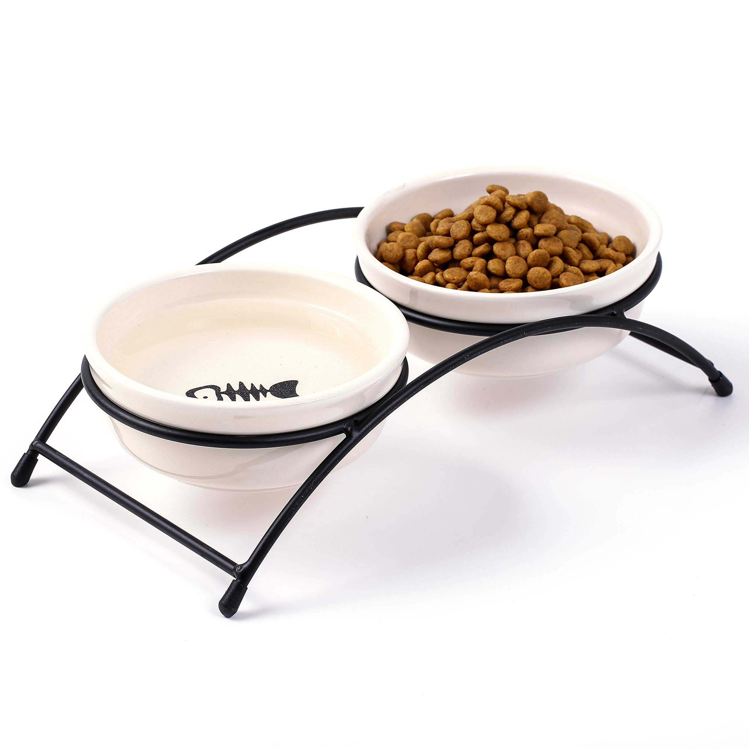 Ceramic Cat Bowls Food Feeding Stand Elevated Dog Bowl Outdoor Non-Skid by JanYoo