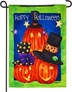 Evergreen Flag Indoor Outdoor Décor for Homes Gardens and Yards Jack-O-Lantern Trio Solar LED Garden Flag