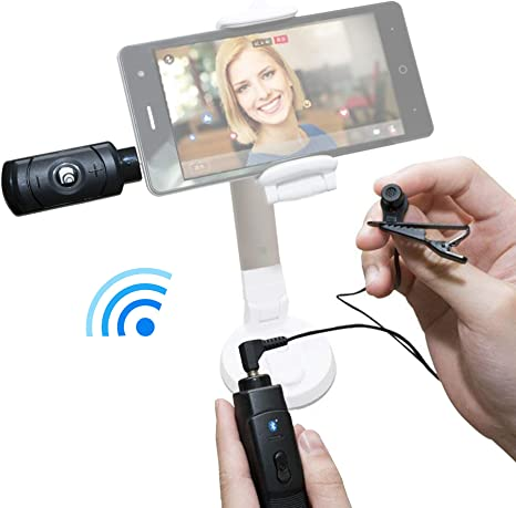 Bluetooth Live Stream - Juego de micrófono inalámbrico para iPhone y Android, condensador omnidireccional, micrófono con clip de corbata con transmisor Bluetooth y receptor por CAROL: Amazon.es: Instrumentos musicales
