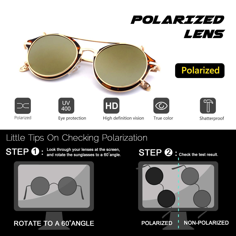 81a804c3db7 Amazon.com  CGID Clip on Sunglasses Polarized Steampunk Metal Retro Circle  Double Lens UV400 Vintage Round Mirror Lens Men and women  Clothing
