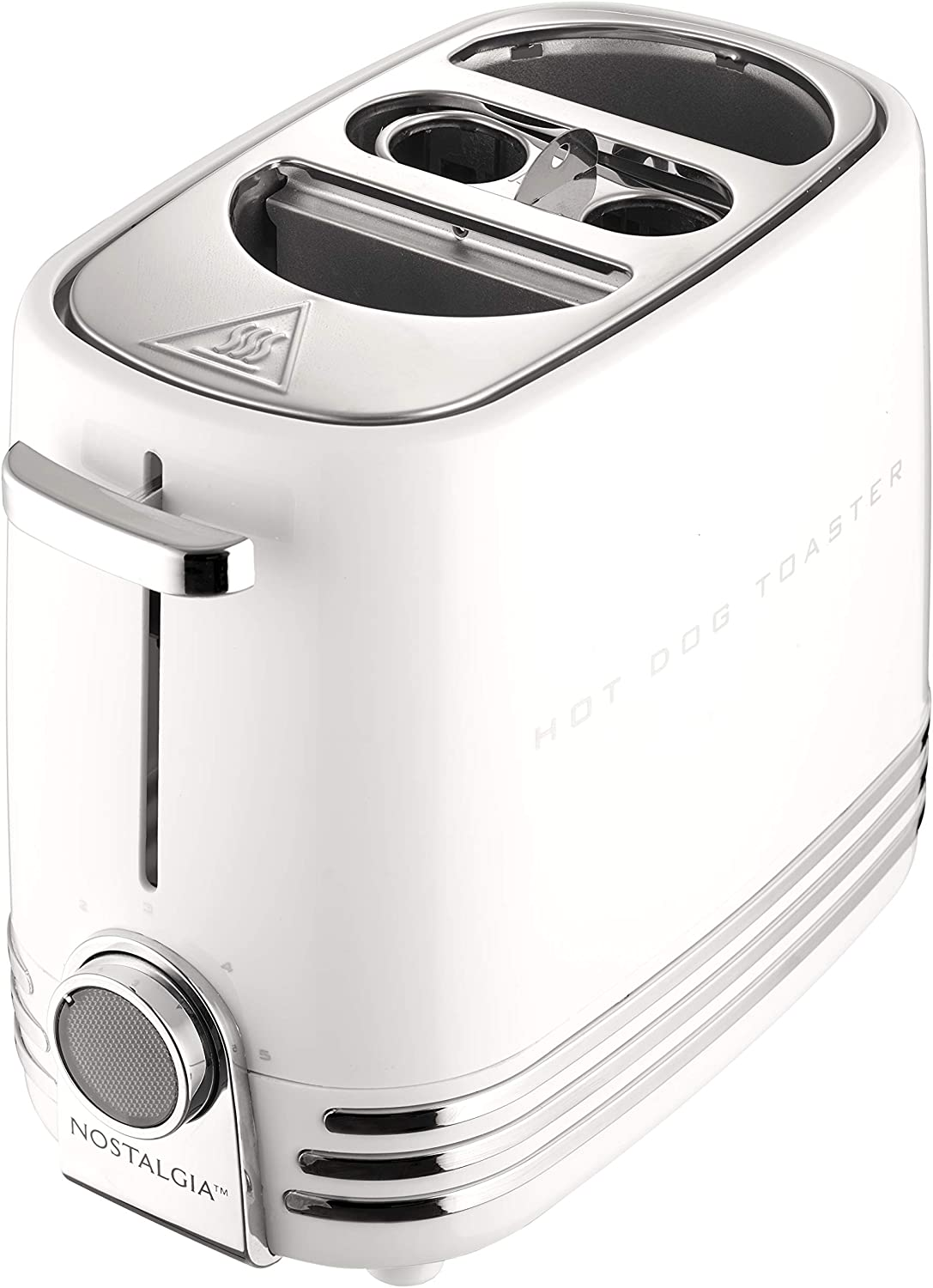 Nostalgia HDT900WHT Pop-Up 2 Hot Dog and Bun Toaster With Mini Tongs, Works with Chicken, Turkey, Veggie Links, Sausages and Brats, White
