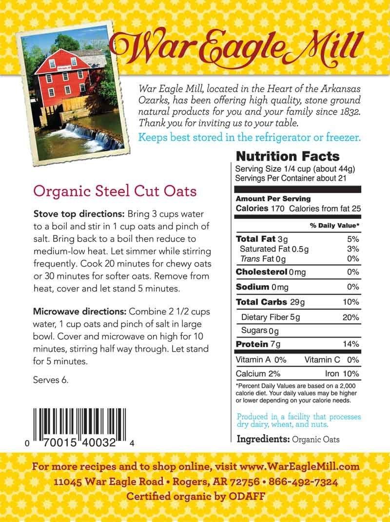 War Eagle Mill Organic Steel Cut Oats in a resealable bag (2 Lbs)