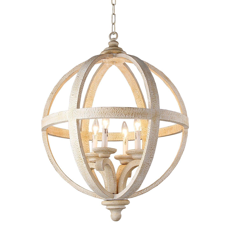 Decomust 24 rustic vintage pendant orb chandelier light wood wooden frame iron band sphere globe ceiling light fixture 4 lamps