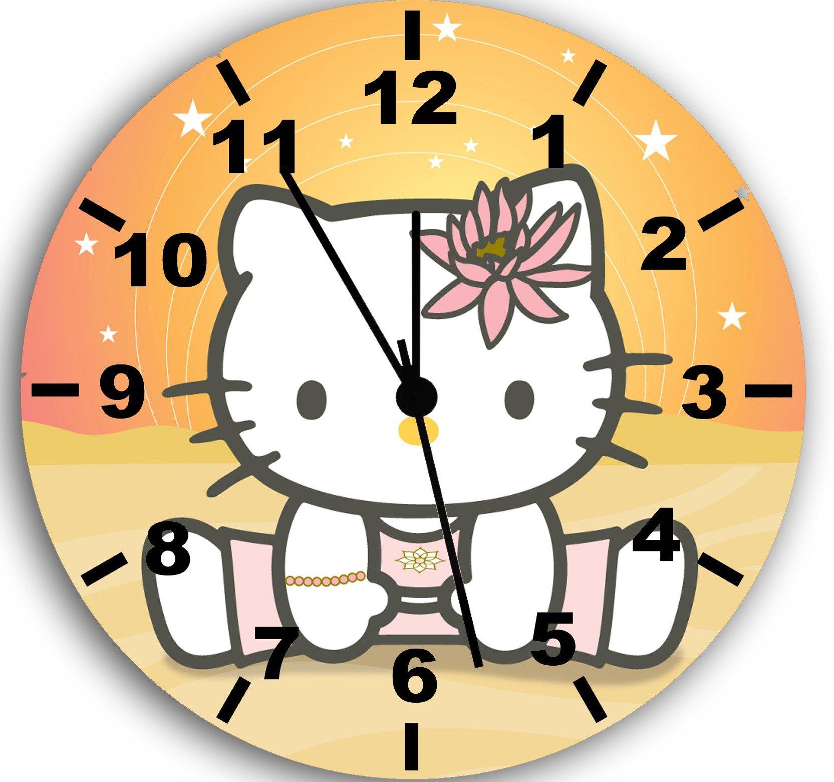 Hello Kitty Yoga Frameless Borderless Wall Clock W07 Nice For Gift or Room Wall Decor