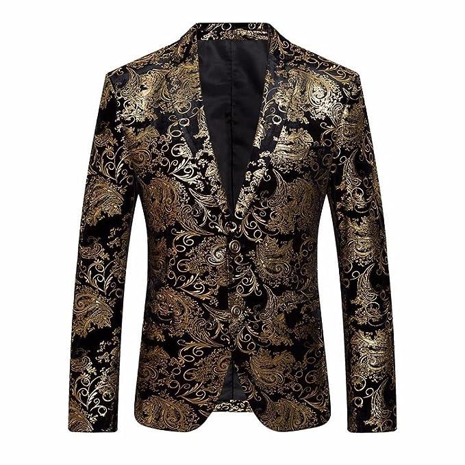 Logobeing Chaqueta de Hombre, Traje Floral con Muesca Solapa Abrigo Blazer Elegante con Estilo: Amazon.es: Ropa y accesorios